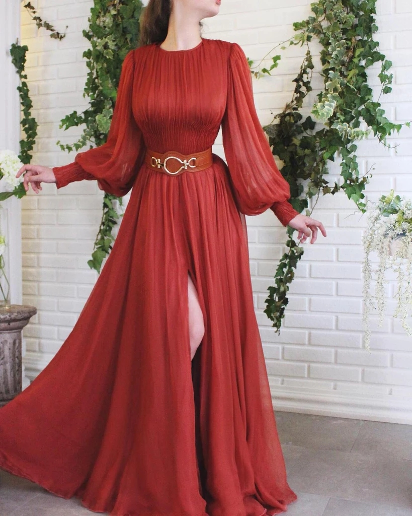Red Muslim Evening Dresses 2019 A-line Long Sleeves Chiffon Slit Islamic Dubai Saudi Arabia Long Formal Evening Gown