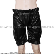 Black Sexy Latex Bloomers Long Leg Boxer Shorts With Loosely Smocking Rubber Underpants Underwear DK-0053