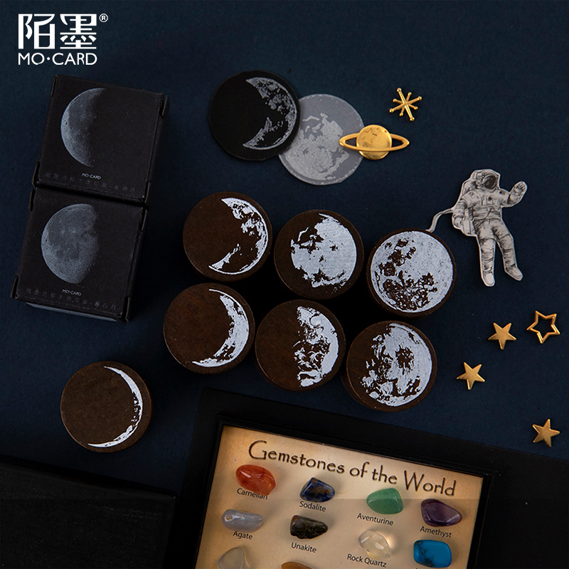 Planet Moon Series Mini Cute Wooden Rubber Stamps Diy Diary Stamps Set For Diy Craft Card Making Planner Scrapbooking