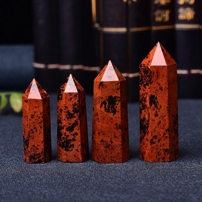 Pedra vermelha natural 50-80mm da varinha de cristal de quartzo da pedra de cura do ponto de cristal de obsidian para o presente mineral diy da decoração de casa