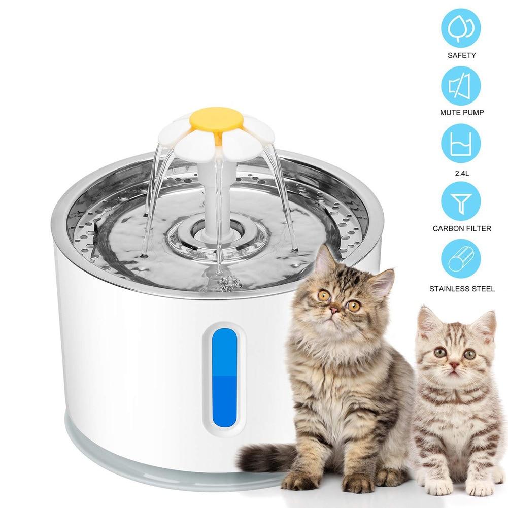 Автоматический фонтанчик для воды с кошачьими кошками, 2,4 л, Ультра тихий USB питьевой фонтанчик для собак, поилка, миска для питья домашних жи...
