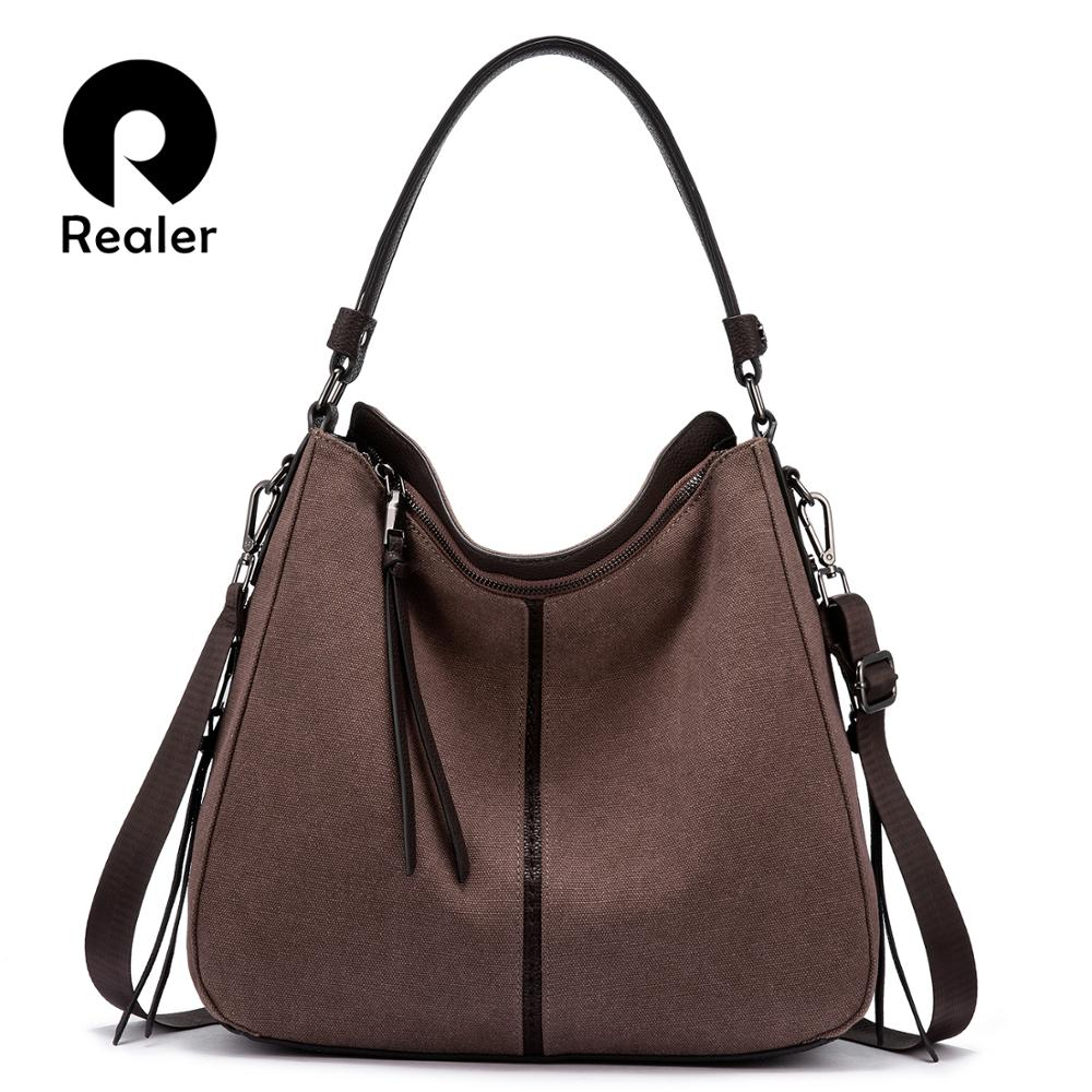 REALER Women Handbags Female Crossbody Shoulder Bags Canvas Messenger Bags For Ladies Big Totes Large Capacity High Quality