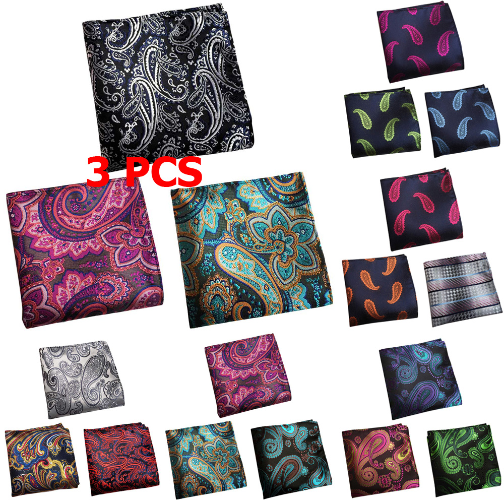 3 PCS Mens Paisley Flower Colorful Pocket Square Handkerchief Wedding Hanky