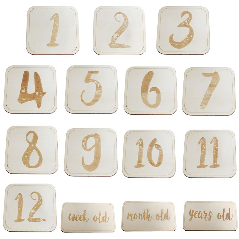 Baby Full Moon Photography Props Birth Month Week Year Number Birthday Wood Card 72XC