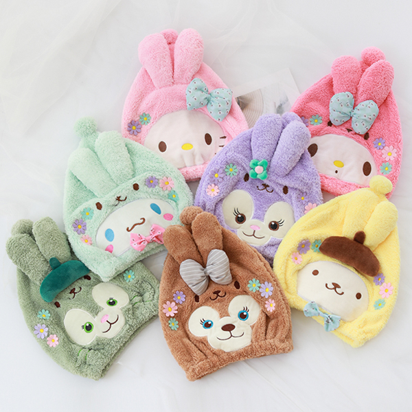 Cartoon Duffy Bear Stellalou Shelliemay HelloKitty My Melody Cinnamoroll Pompompurin Shower Cap Dry Hair Cap For Girls