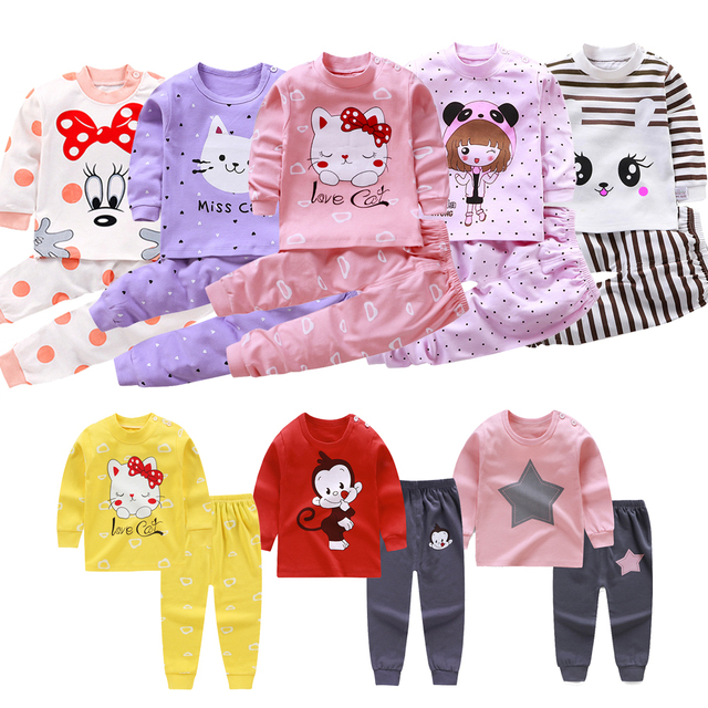 Children Pajamas Baby Clothing Set Kids Unicorn Cartoon Sleepwear Autumn Cotton Nightwear Boys Girls Animal Pyjamas Pijamas Set 1