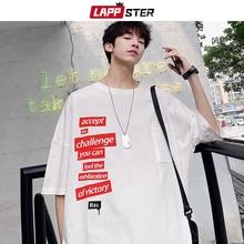 LAPPSTER Men Oversized Graphic Tshirts 2020 Summer Mens Harajuku Kpop T Shirt Short Sleeve Male Japanese Streetwear Loose Tees
