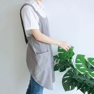 Impermeabile Delle Donne Del Cotone di Lino Cross Back Giapponese Grembiule Lavori Domestici di Cottura Della Cucina Doppia Tasca del Grembiule Fiorista Grembiule di Lavoro