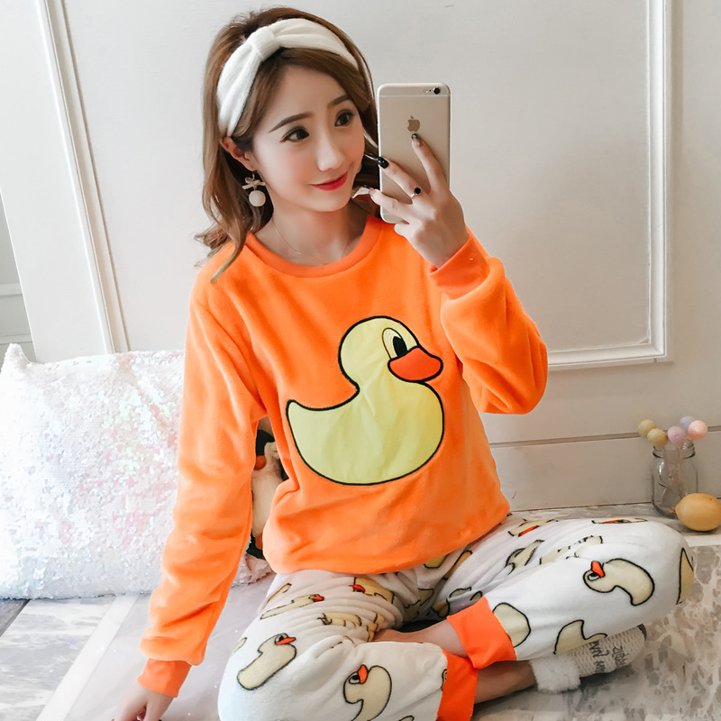 Winter Pajamas Women's Winter Flannel Long Sleeve Cartoon Korean-style Homewear Set B21 #220 Grams M -Xxl