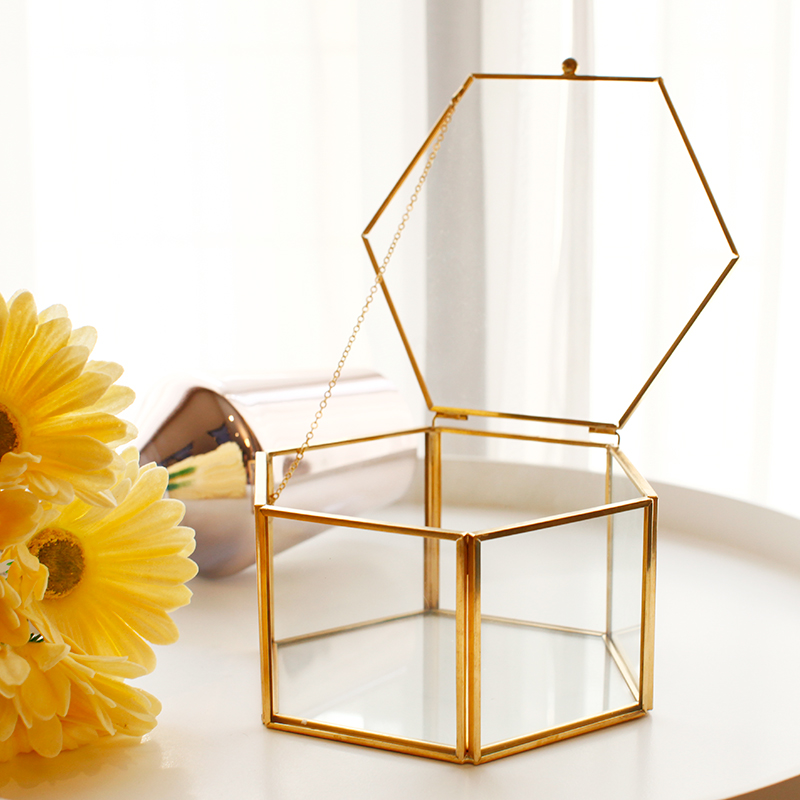 Vintage Hexagon Transparent Wedding Party Ring Box Metal Frame Glass Gift Box With Cover Surprise Explosion Box For Girlfriend