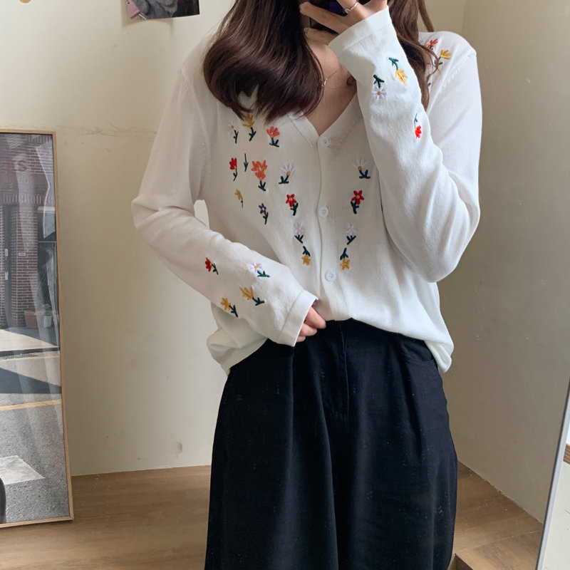 Alien Kitty 2020 New Women Slim High Waist Cardigans Chic Embroidery Girls Sexy Gentle Sweet All Match Loose Knitted Sweaters