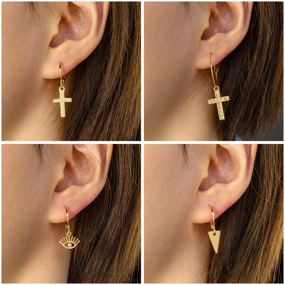 ZWC 2020 New Fashion Geometry Vintage Earring For Women Party Gold Small Cross Dangle Drop Earring Female Jewelry Wholesale