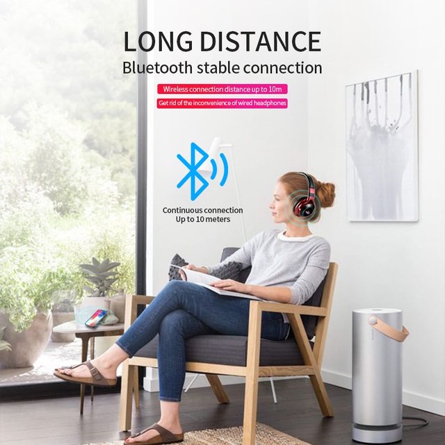 LED Light Wireless Bluetooth Headphones 3D Stereo Earphone  With Mic Headset Support TF Card FM Mode Audio Jack 6