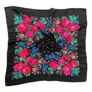 Image 1 - พิมพ์ชาติพันธุ์ผ้าพันคอผ้าพันคอ 70 ซม.X 70 ซม.ป้องกันฝุ่น Cashew ดอกไม้ผ้าพันคอ Retro ดอกไม้มุสลิม Headscarf รัสเซีย hijab