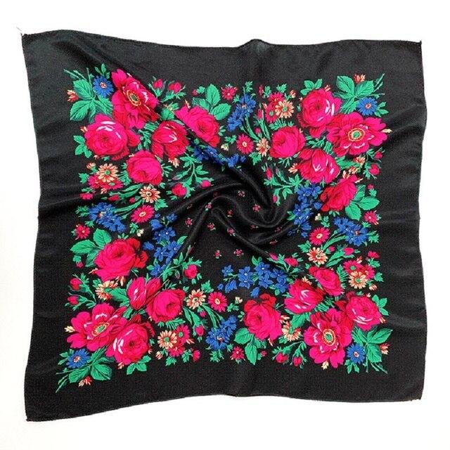 พิมพ์ชาติพันธุ์ผ้าพันคอผ้าพันคอ 70 ซม.X 70 ซม.ป้องกันฝุ่น Cashew ดอกไม้ผ้าพันคอ Retro ดอกไม้มุสลิม Headscarf รัสเซีย hijab
