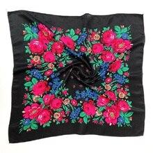 Baskılı etnik eşarp Wrap 70cm X 70cm toz geçirmez kaju çiçek saç bandı eşarp Retro çiçek müslüman başörtüsü rus başörtüsü