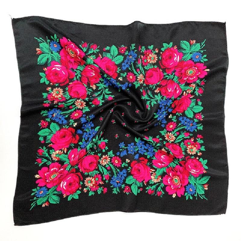 Printed Ethnic Scarf Wrap 70cm X 70cm Dustproof Cashew Floral Hair Headband Scarf Retro Floral Muslim Headscarf Russian Hijab