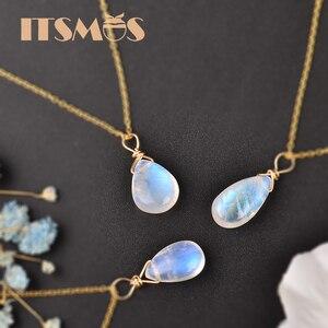 Image 4 - ITSMOS naturalny kamień księżycowy US 14k złota biżuteria łańcuszek naszyjnik prosty elegancki biżuteria dla kobiet Romatic prezent