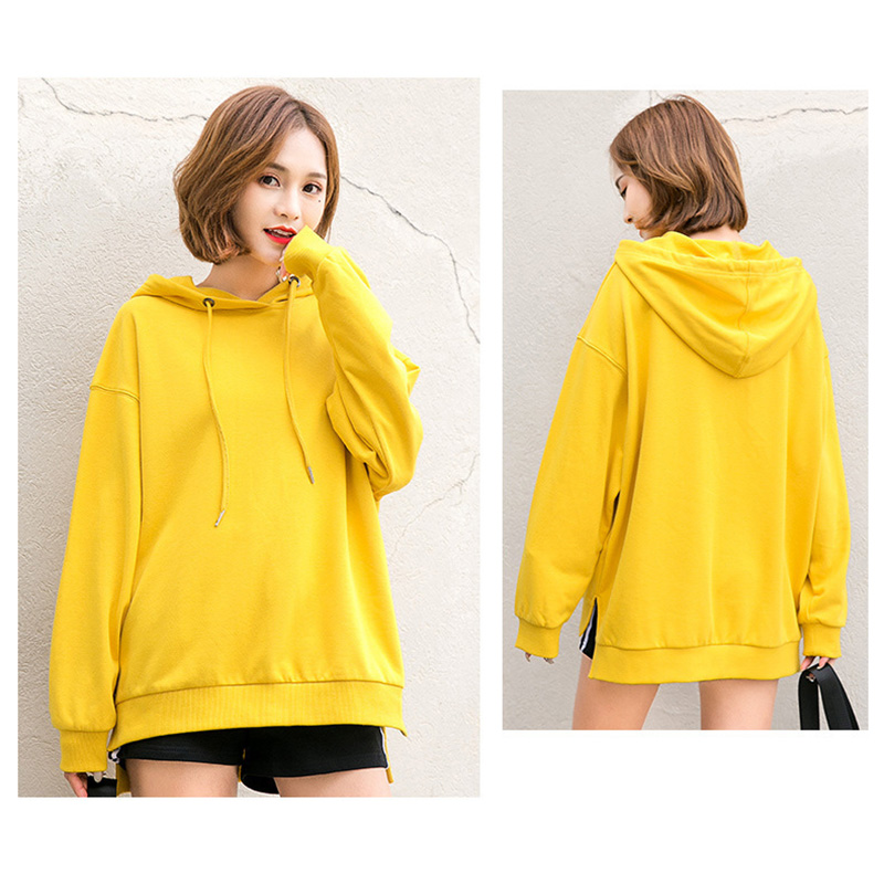 Sweat à capuche jaune femmes dames hoddies femme couleur unie sweats à capuche pull kpop coréen vintage à capuche