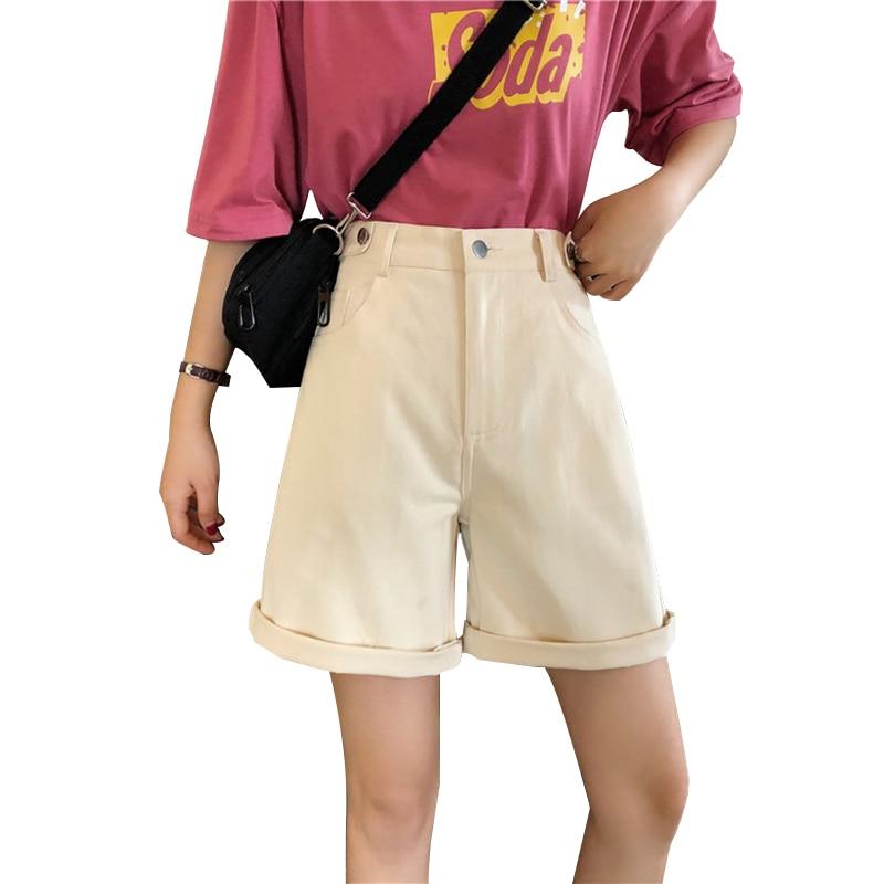 Shorts Women Solid Color High Wide Leg Trendy Harajuku Clothes Womens Summer Elastic Girl Simple All-match Short Student Elegant