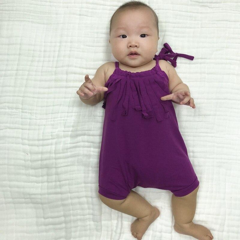 Seartist bebê meninas curto macacão da criança menina verão boho borlas playsuit bolha macacão roupas da menina do bebê sólido roxo 35