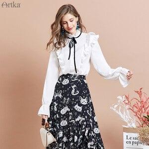 Image 4 - ARTKA 2020 אביב חדש נשים חצאית אופנה חתול הדפסת חצאית סדיר עיצוב שיפון חצאיות אלגנטי פרע חצאית נשים QA15297Q