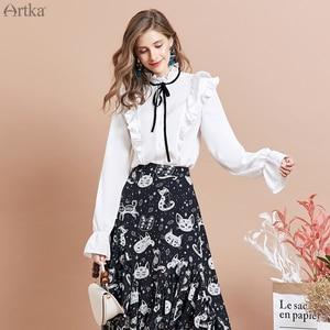 Image 4 - ARTKA falda con estampado de gato para mujer, faldas de gasa con diseño irregular, con volantes, 2020