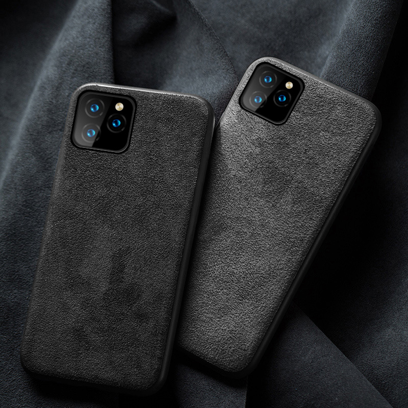 Genuine Cow Suede Leather Phone case for Apple iphone 11 11Pro 11 Pro Max X XR XS XS max 6 6S 7 8 plus 360 Full protective cover image