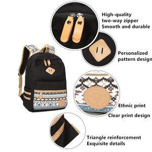 Image 4 - 3 adet Set tuval nokta sırt çantası çocuklar okul çantaları hafif genç kızlar Laptop sırt çantaları yalıtımlı öğle yemeği çantası + kalem kılıf