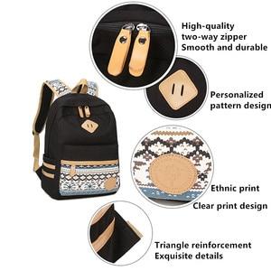 Image 4 - Conjunto de 3 uds. De mochila de lona de lunares, mochila de instituto, mochilas ligeras para ordenador portátil para chicas adolescentes, con bolsa aislada + estuche para lápices