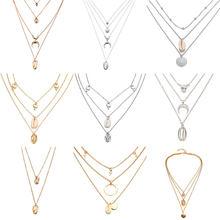 2019 nova moda bohemia verão praia concha jóias ouro prata cor concha pingente colar para as mulheres