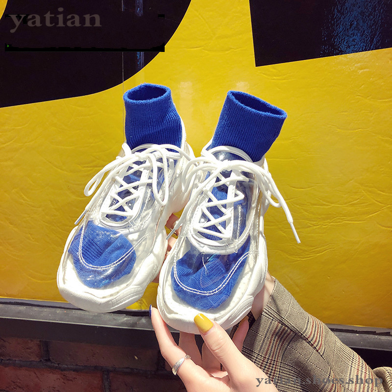 Transparent Vulcanized Shoes Round Rubber Sneakers Women Sheos Outdoor Casual Women Shoes Spring Shoes Woman Platform G-40