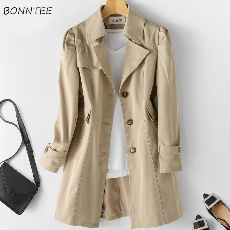 Trench Women Classic Elegant Korean Style High Quality Pockets Single Breasted Large Size 5XL Womens Slim Long Coats Casual Chic