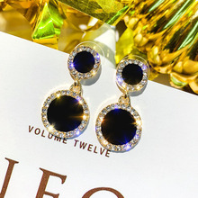 HOCOLE Fashion Black Round Square Crystal Earrings For Women Geometric Gold Rhinestone Drop Earring Female Party Jewelry Brincos