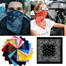 1Pcs 12 Colors 100% Cotton Non Fading Paisley Bandanas Lot Print Scarf  Random Color paisley print frayed trim scarf