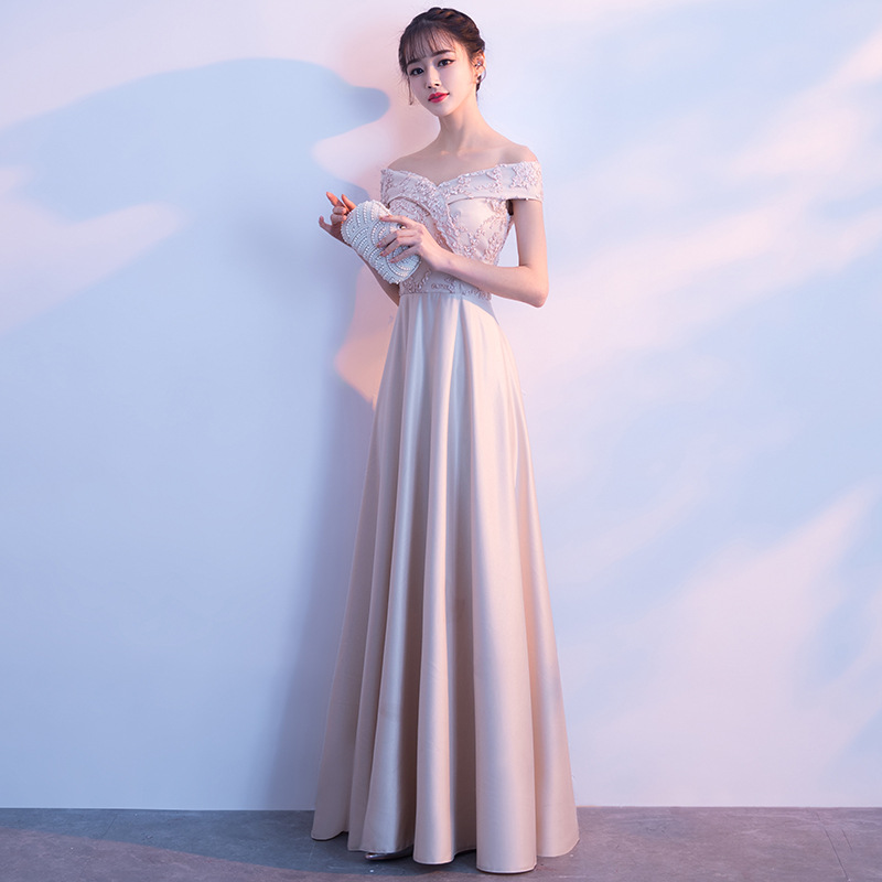 Banquet Evening Gown 2019 New Style Autumn And Winter Korean-style Dignified Glorious Off-Shoulder Long Slimming Bridesmaid Dres