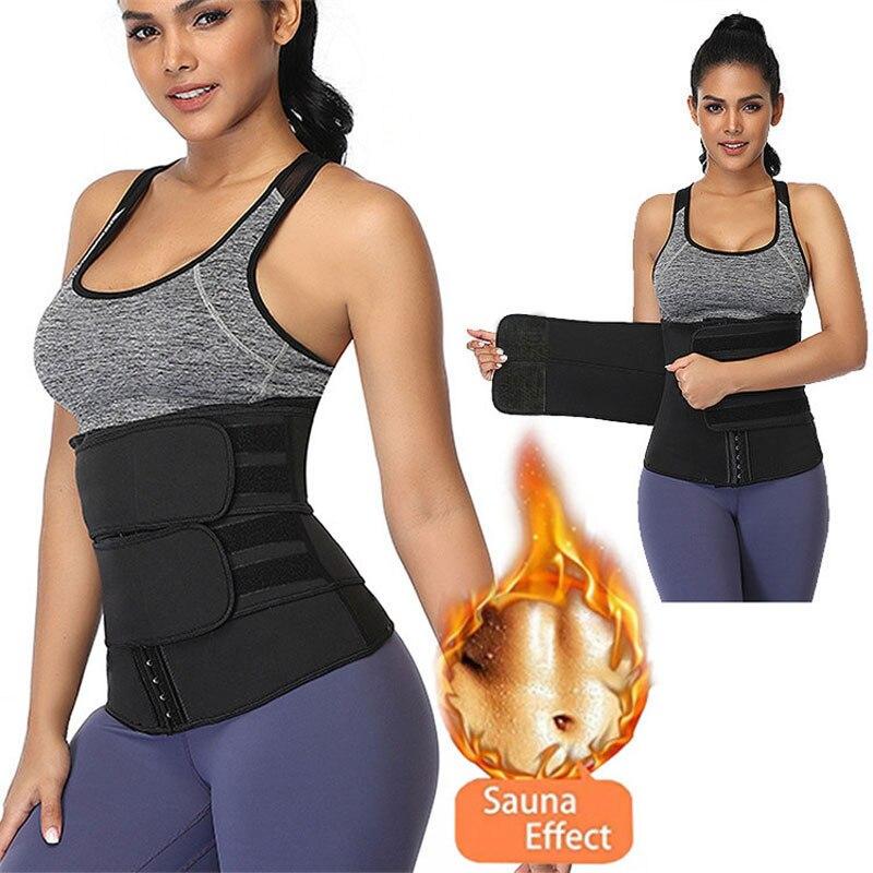 Women Hot Sweat Neoprene Workout Waist Trainer Corset Trimmer Belt Hook & Eye Closure Slimming Weight Loss Body Shaper Band