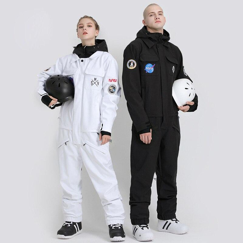 SMN Ski Suit Couple Winter Warm Couple Suit Siamese Double Board Adult Windproof Waterproof Women Men Ski Outdoor Jumpsuit