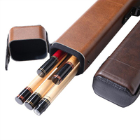 Billiard 1/2 Pool Cue Case 5 Holes Brown PU Portable Carrying Bag With Handing Strap Durable Billiard Accessories 2019