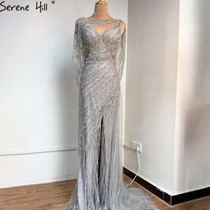 Image 5 - Serene Hill Sexy Champagne V neck Luxury Evening Dress 2020 Diamond Beading Sleeveless Mermaid Formal Party Gown CLA70301