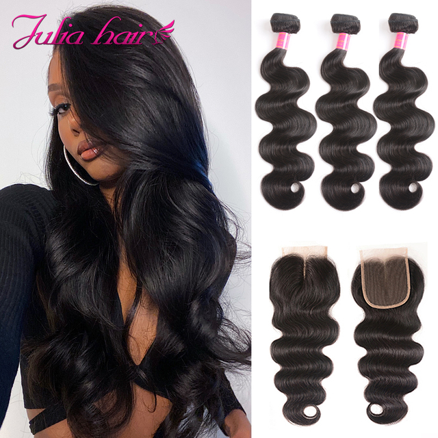 Brazilian Body Wave Human Hair with Closure Remy Hair 4*4 Swiss Lace Closure with Hair Weave Ali Julia 3 Bundles with Closure