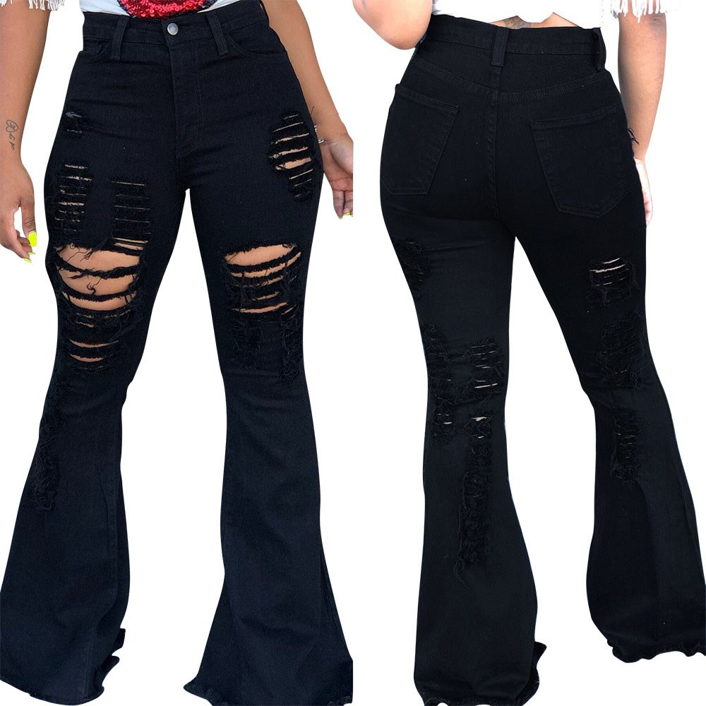 2019 Casual High Waisted Wide Leg   Jeans   Skinny Womens Solid Flare Pants Black Denim Hole Trousers