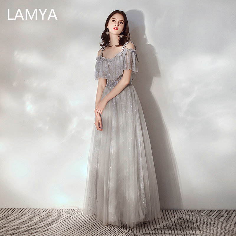 LAMYA 2020 Simple Gary Evening Party Dress Princess Long Boat Neck Formal Dress Sexy Backless Robe De Soiree Evening Prom Gowns