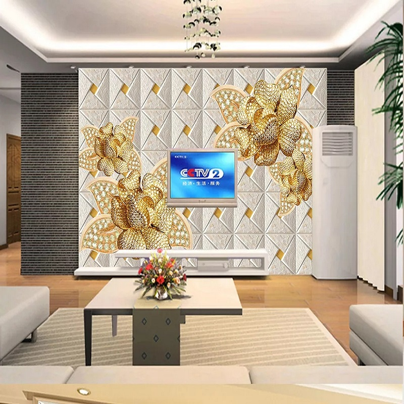Custom Large Mural 3D Wallpaper Stylish Modern Luxury Creative Golden Leather Texture Flower Lattice TV Wall Decor 5D Embossed