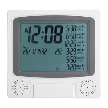 Cyfrowy islamski zegar muzułmański prezent Alarm Azan modlitwa Alarm LCD radio z budzikiem islamski budzik tanie i dobre opinie CN (pochodzenie) SQUARE DIGITAL 597g 235mm Zegarki z alarmem Kalendarze Z tworzywa sztucznego 225Aspicturemm Nowoczesne