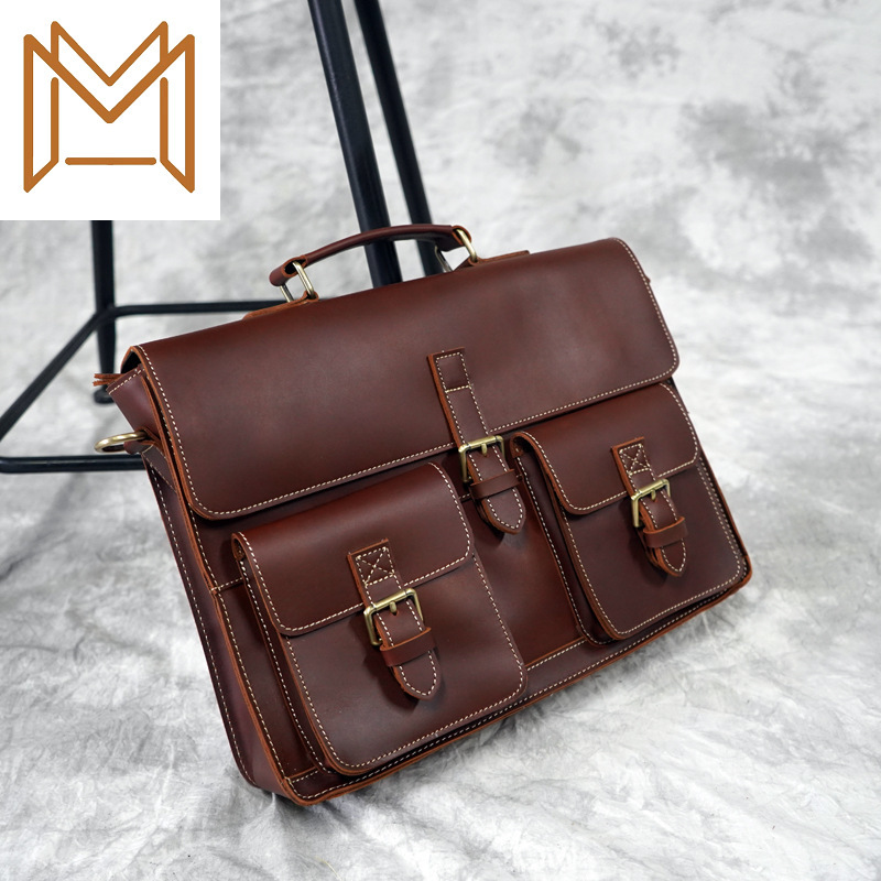 England Trend Head Layer Cowhide Single Shoulder Satchel Male Leisure Time Business Affairs Briefcase Computer Package