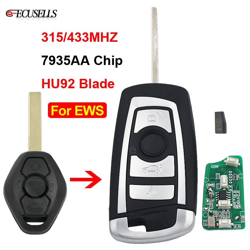 3 Button Flip Remote Key 315MHZ / 433MHZ ID44 PCF7935AA Chip for BMW EWS 325 330 318 525 530 540 E38 E39 E46 M5 X3 X5 HU92 Blade-in Car Key from Automobiles & Motorcycles