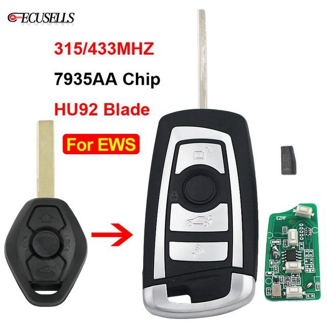 3 düğme çevirme uzaktan anahtar 315 MHZ/433 MHZ ID44 PCF7935AA çip için BMW EWS 325 330 318 525 530 540 E38 E39 E46 M5 X3 X5 HU92 bıçak