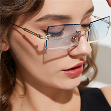2019 gafas de sol pequeñas sin montura mujer hombre verano Retro negro rojo rosa pequeñas rectangulares lentes de sol para dama UV400 Retro sombras