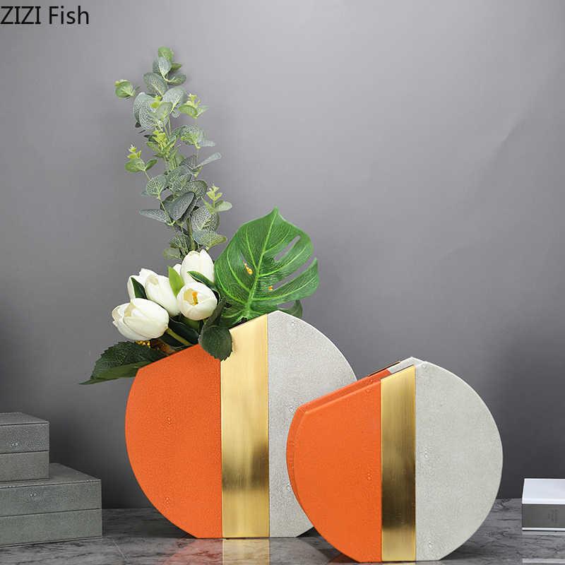 Modern Kreatif Bunga Vas Dekorasi Bermutu Tinggi Model Kamar Showroom Ruang Tamu Kulit Jahitan Rangkaian Bunga